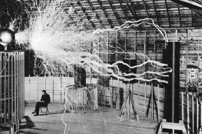 Nicola Tesla in his lab