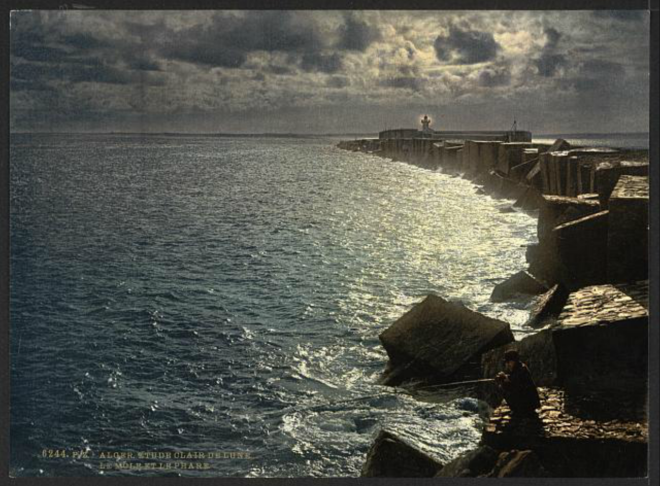 Moonlight view, with lighthouse, Algiers, Algeria][ca. 1899].