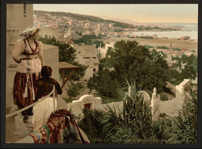 Moorish woman and child on the terrace, II, Algiers, Algeria [ca. 1899].