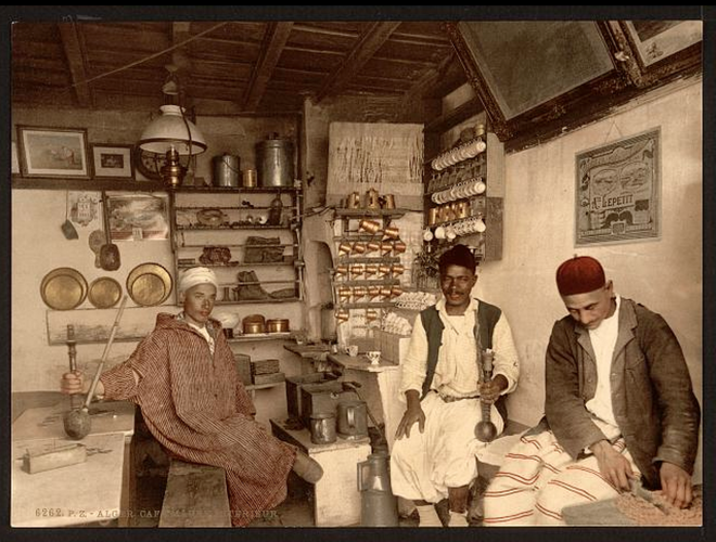 Moorish coffee house, Algiers, Algeria [ca 1899].
