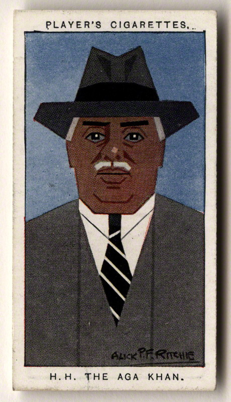 Aga Khan III (Mohammed Shah) by Alexander ('Alick') Penrose Forbes Ritchie colour relief halftone cigarette card, 1926