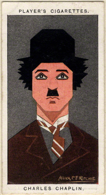 Charlie Chaplin by Alexander ('Alick') Penrose Forbes Ritchie colour relief halftone cigarette card, 1926