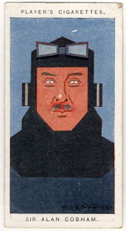 Sir Alan John Cobham by Alexander ('Alick') Penrose Forbes Ritchie colour relief halftone cigarette card, 1926