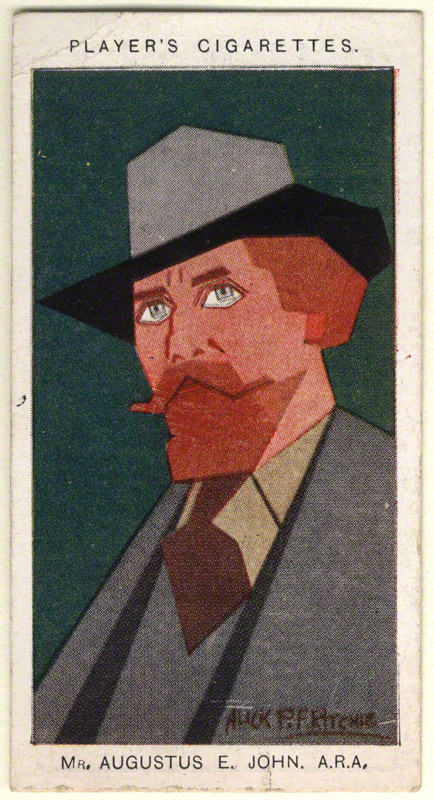 Augustus John by Alexander ('Alick') Penrose Forbes Ritchie colour relief halftone cigarette card, 1926