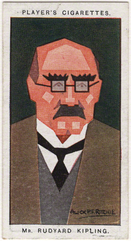 Rudyard Kipling by Alexander ('Alick') Penrose Forbes Ritchie colour relief halftone cigarette card, 1926