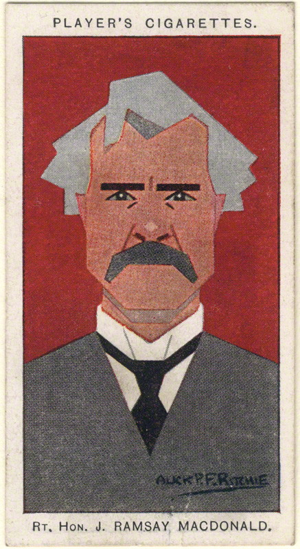 Ramsay MacDonald by Alexander ('Alick') Penrose Forbes Ritchie colour relief halftone cigarette card, 1926