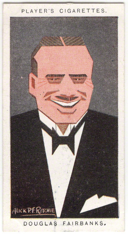 Douglas Fairbanks by Alexander ('Alick') Penrose Forbes Ritchie colour relief halftone cigarette card, 1926