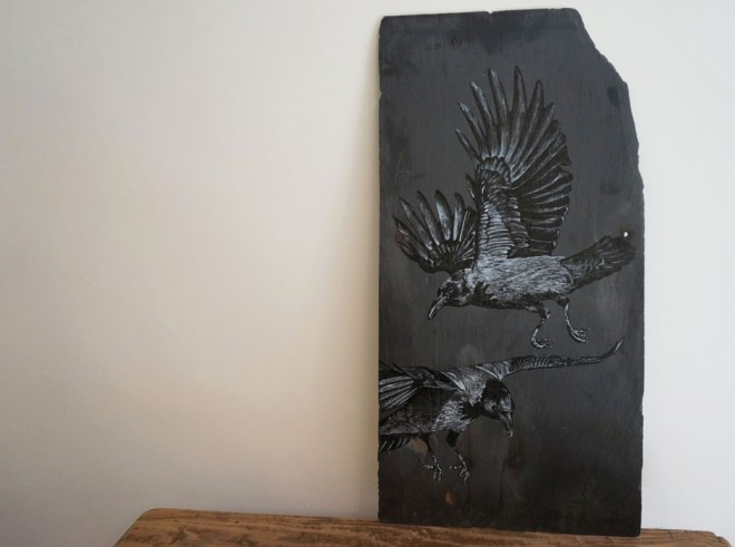 crows on slate