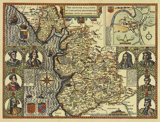 Map of Lancashire, 1610, by John Speed
