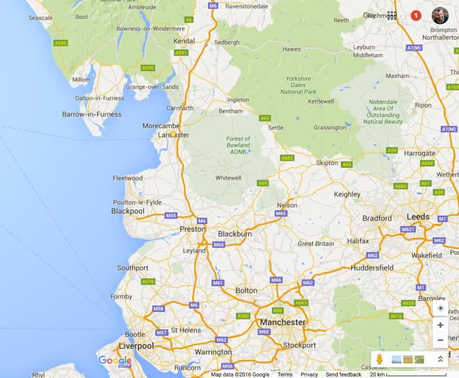 Lancashire, Google Maps, 2016